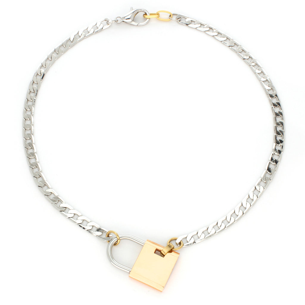 Maxi Lock Necklace in Plated Stainless Steel Chain with a gold lock pendant.