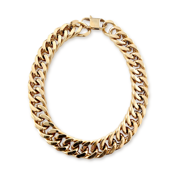 Gold Cleo which is a thick chain necklace with a gold shiny finish.