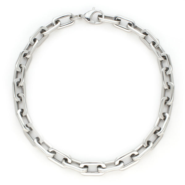 PUERTO CHAIN NECKLACE which is a Stainless Steel Rhodium Plated Chain.