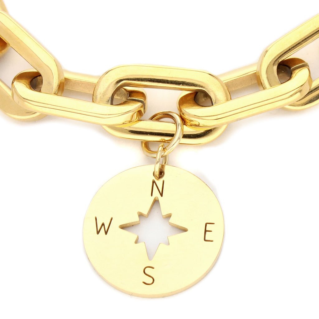 PUERTO CERVO BRACELET which is a 7 Inch 18K gold plated Puerto Chain with Compass pendant.