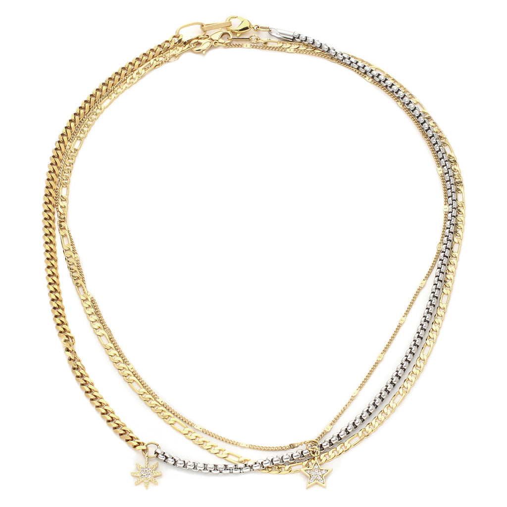 UP HIGH NECKLACE SET which comes with three necklaces made of 18k Gold plated Stainless steel chain. One is a thin gold necklace with a star zirconia pendant, gold plain chain and half silver and gold chain with a sunburst zirconia pendant.