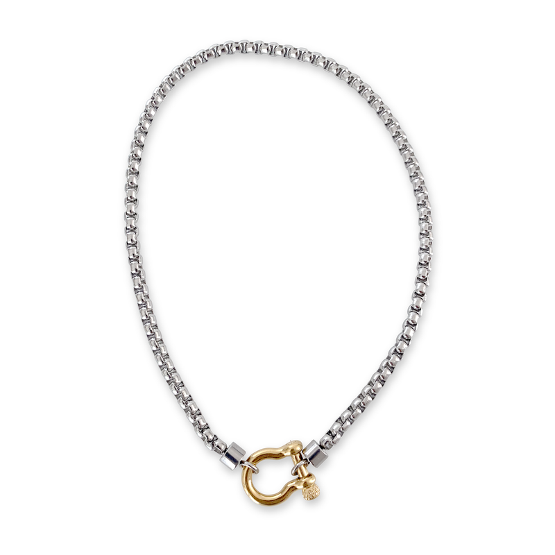 Herradura Mix Necklace in silver chain and gold clasp.
