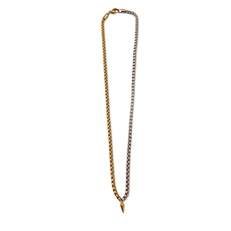THE SPIKE necklace which is a Stainless Steel Gold & Silver Chain with brass plated spike pendant.