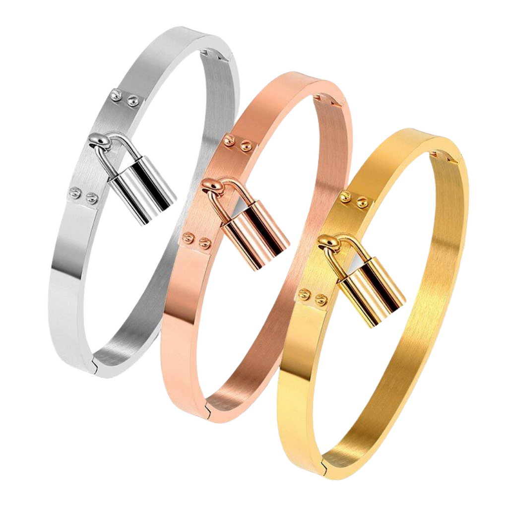 3 Lucky Bangles in plain Silver Rose and Gold with lock charms on each bracelets.