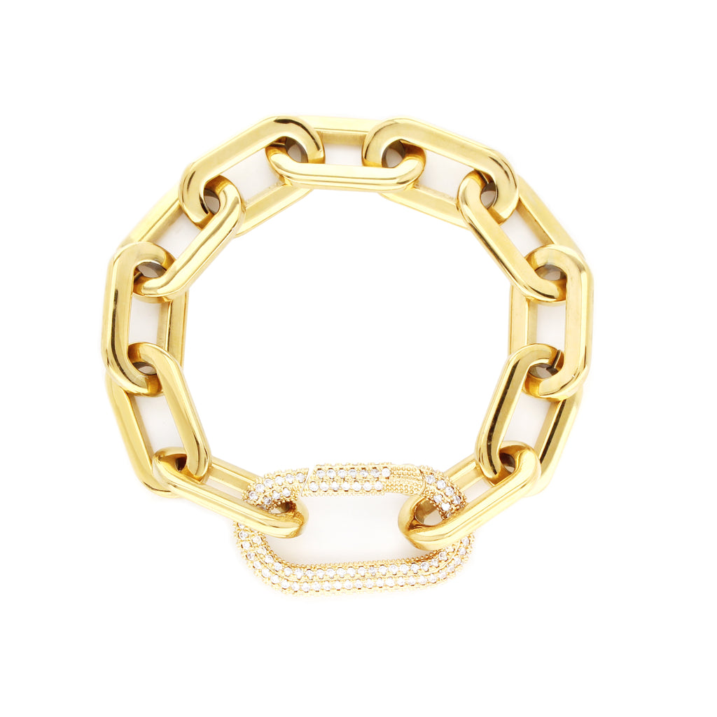 Puerto Fino Bracelet in gold plated stainless steel with a Micro Pave Zirconia lock.