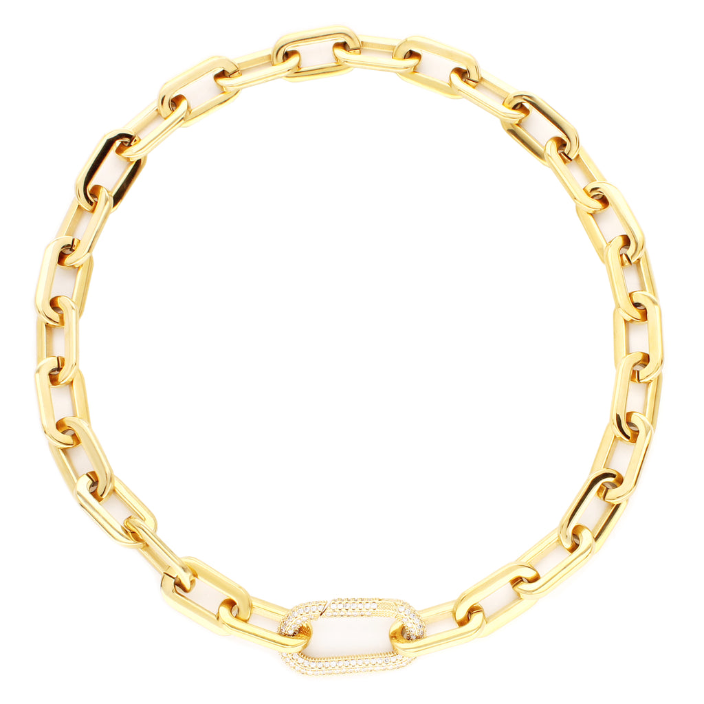 Puerto Fino Necklace in gold plated stainless steel with a Micro Pave Zirconia lock.