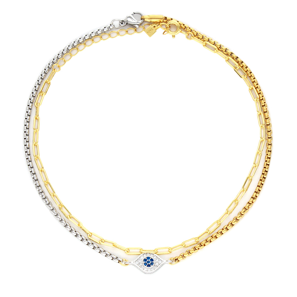 2 piece DOBLE ANKLET SET which comes with a gold plated anklet  and one with Evil eye Zirconia pendant. The chain is half silver and half gold.