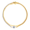 EVIL ZIRCONIA ANKLET SET which comes with 2 anklets, thin gold chain and a half gold and half silver chain with eye shaped charm in between and has blue stones and crystals.