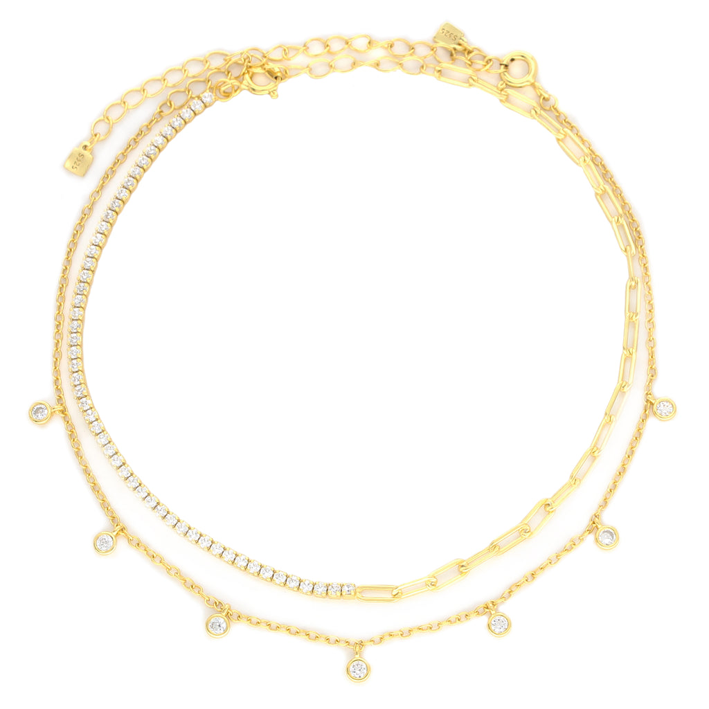 SHINE ANKLET SET with TWO gold plated anklets with Zirconia stones around.