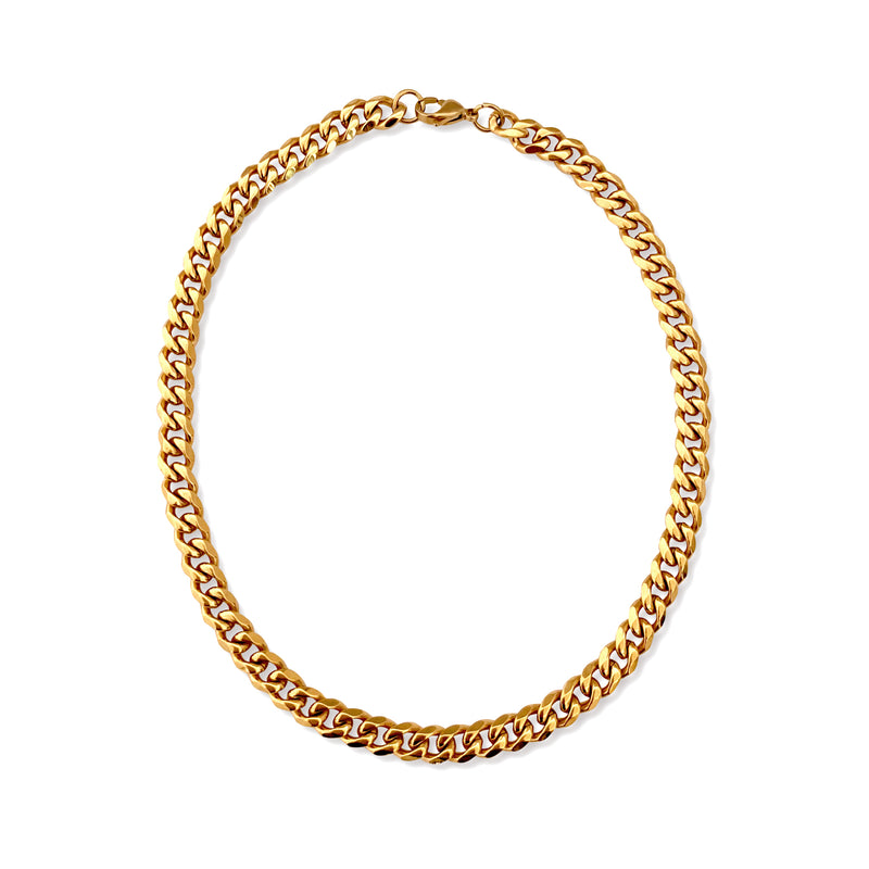Small tropicana which is a gold plated stainless steel chain.
