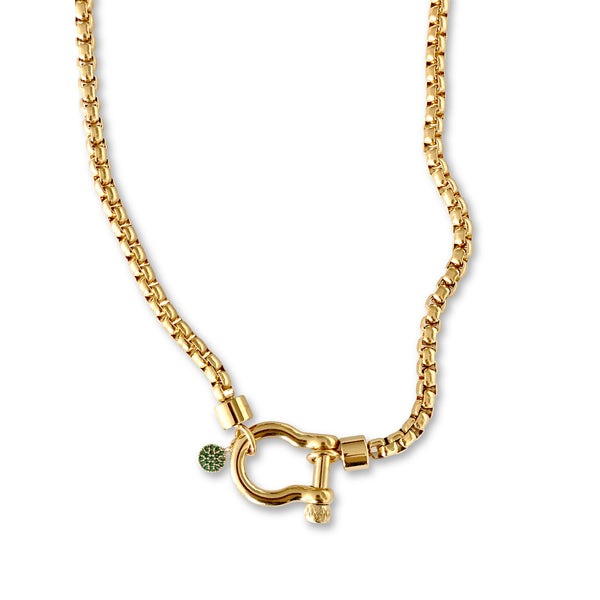 Herradura Green which is a gold chain with a Herradura lock and Micro Pave emerald circle pendant