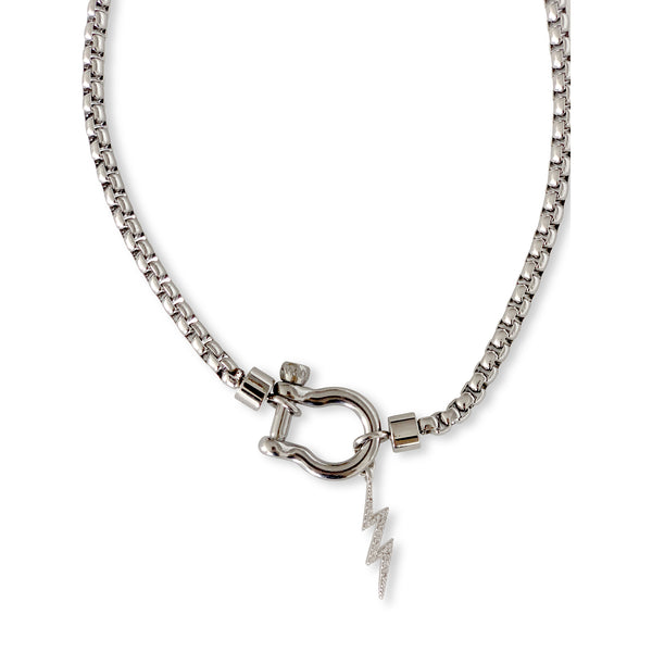 HERRADURA THUNDER SINGLE - SILVER which is a plain sterling silver chain and silver Herradura clasp with lightning bolt pendant.