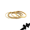 Chain Gold Stack comes with 4 gold bangles, one is a thin made of cubic zirconia bracelet, plain gold chain, Air bangle which is 4mm wide, gold plated with 8 zirconia dots in the middle and plain gold bangle.