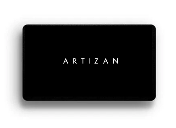 Black rectangular card with the white ARTIZAN logo written in the middle.