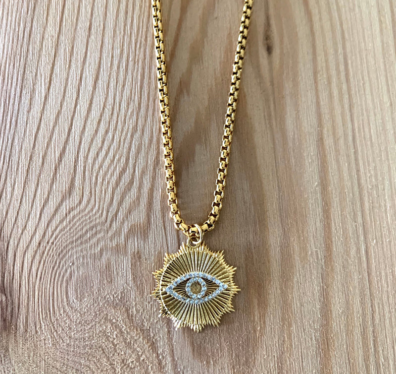 I SEE NECKLACE which is a Stainless Steel Gold Chain with a 24mm 24k Shiny Gold Eye Zircon Pendant.