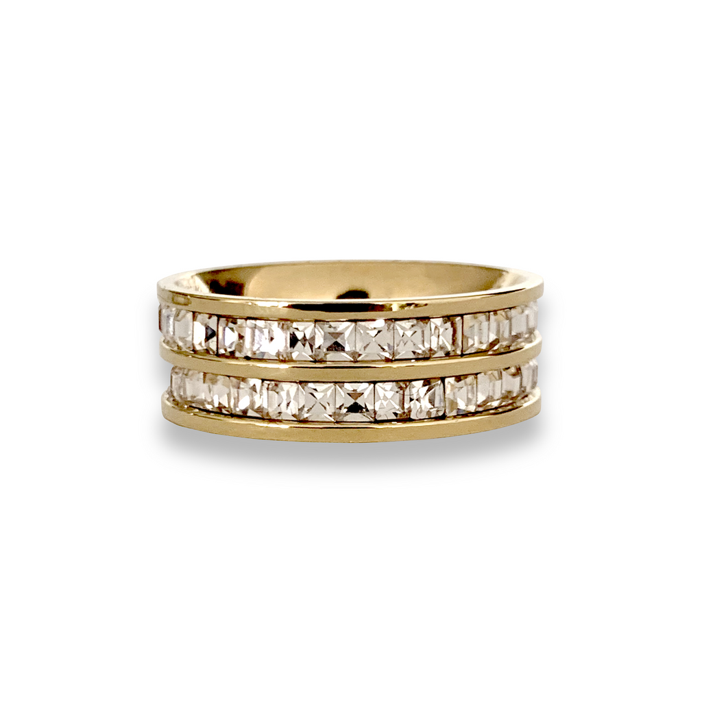 SQUARE ZIRCONIA DOBLE which looks like two rings attached made of gold plated Stainless steel with Zirconia Crystals around.