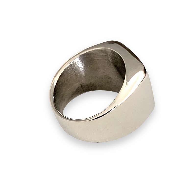 FOREVER RING SILVER which has a shiny silver finish full ring.