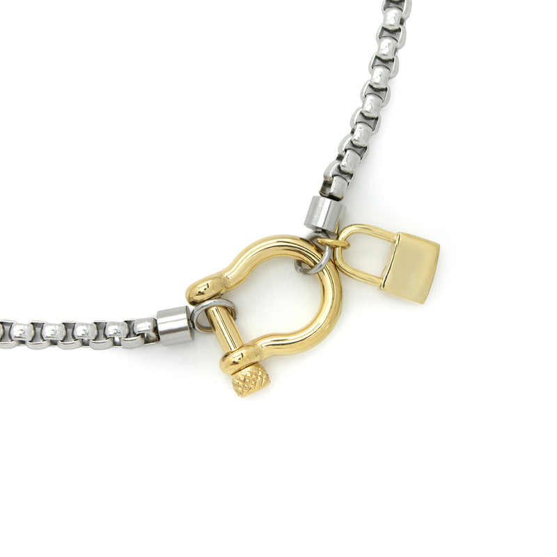 Herradura Lock Single in silver chain and gold clasp and a gold plated Brass lock pendant