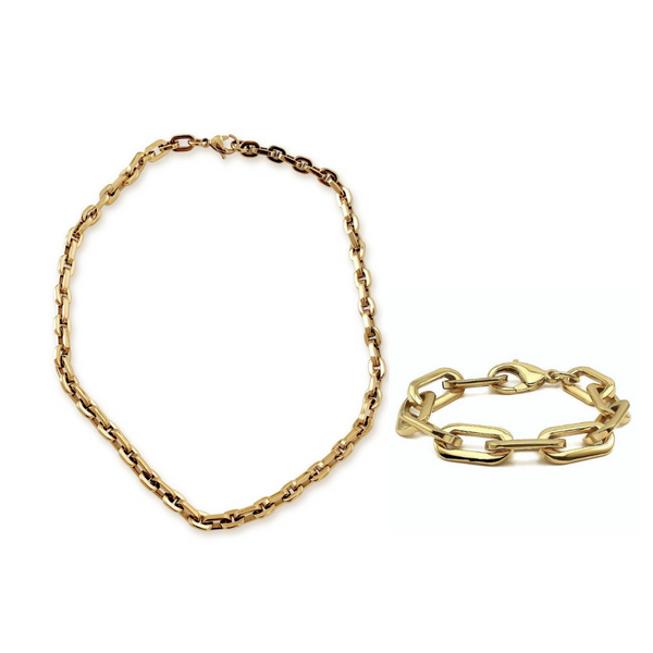 PUERTO SIZE SET which comes with a necklace and bracelet made of Stainless Steel Gold Plated Chain.