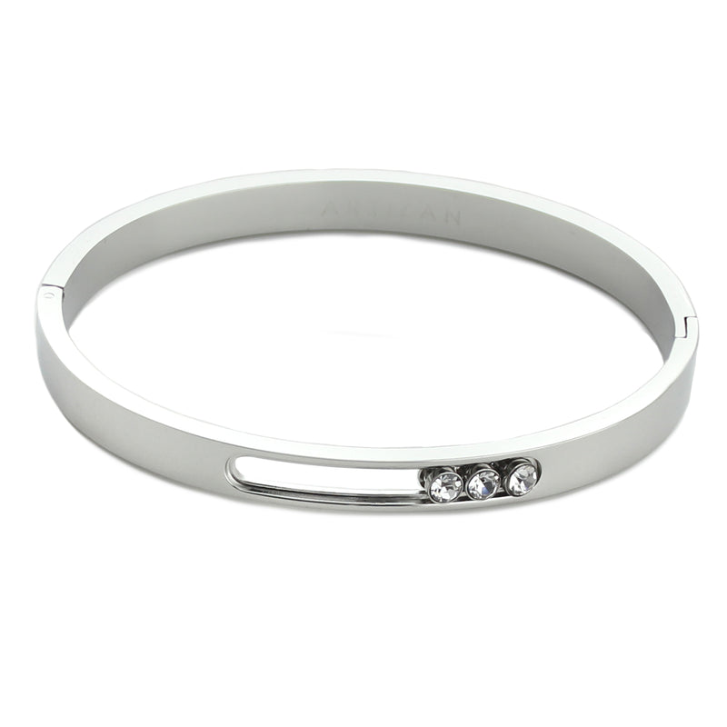 Moving bangle in Stainless steel silver plated with three Cubic Zirconia.