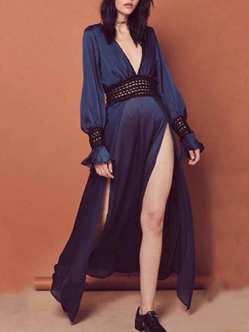 Backless Split-side Hollow Maxi Dress