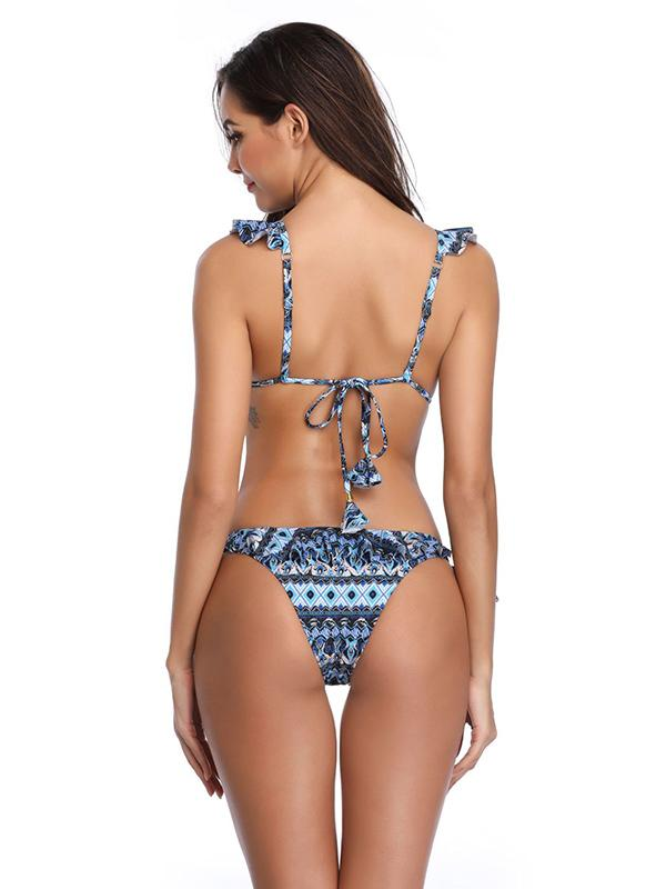 Lace Up Printed Falbala Bikini