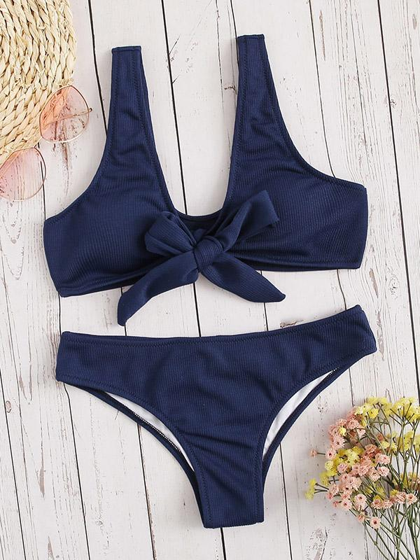 Plain Ribbed Bikinis Swimwear