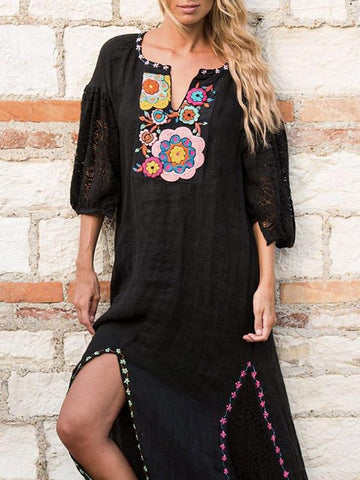 Embroidered Split-side Bohemia Dress