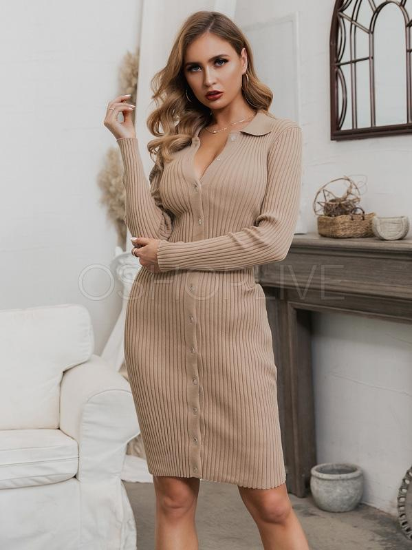 Sexy Solid Lapel Sweater Dress