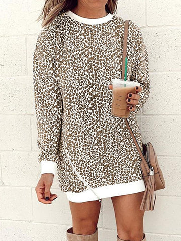 Leopard Printed Round-neck Zipper Sweatshirt