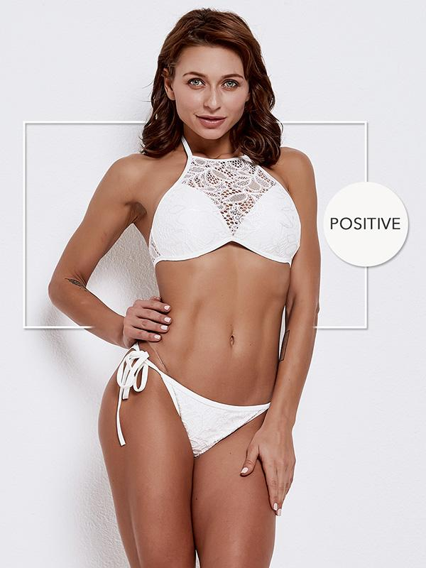 White Exercise Triangle Bottom Bikinis Swimwear
