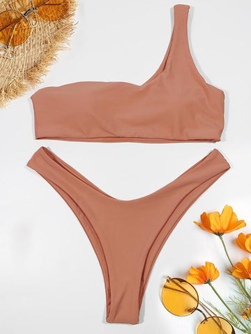 Single Shoulder Plain Bikinis Swimwear