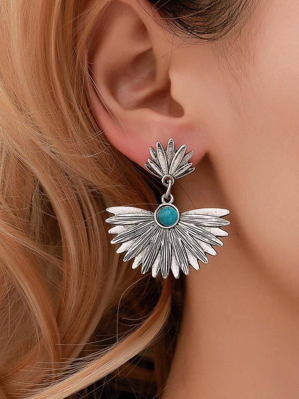 Retro Leaf Sector Turquoise Earrings