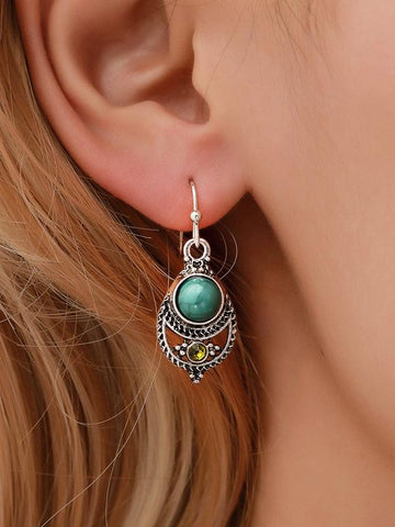 Retro Hollow Carving Turquoise Earrings