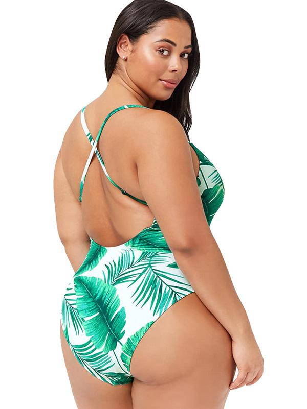 Plus Size Green Printed One-piece Swimwear