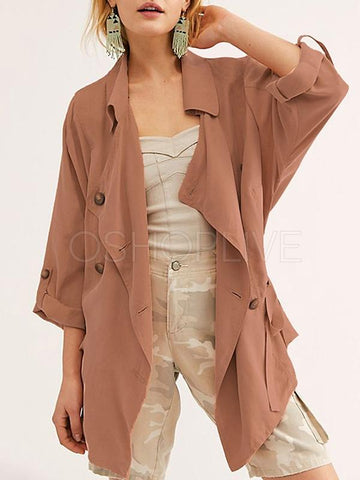 Solid Color Short Button Tie Windbreaker Coat
