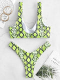 Snakeskin High Cut Bikinis Swimwear