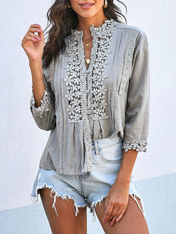 Lace Front Solid Loose Blouses&Shirts Tops