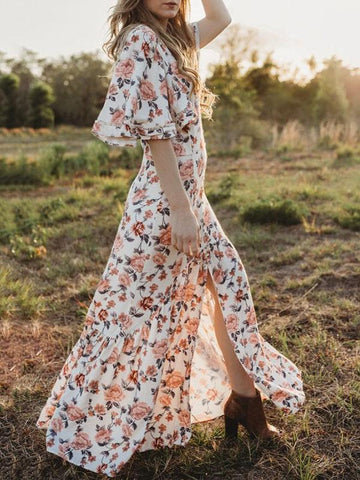 Floral Falbala Sleeves Maxi Dress