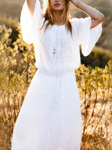 Hollow Long Sleeves V-neck Maxi Dress