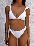 Sexy Black White Ruffled Collar Bikini Set