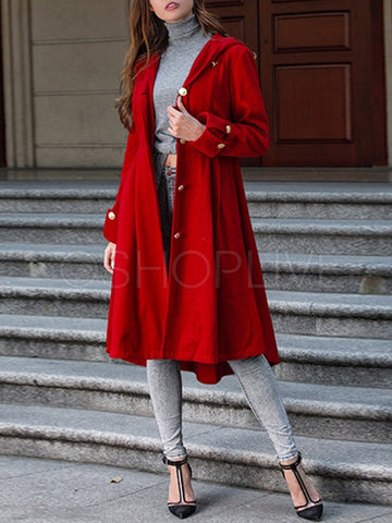 Plain Hooded Woolen Long Coat