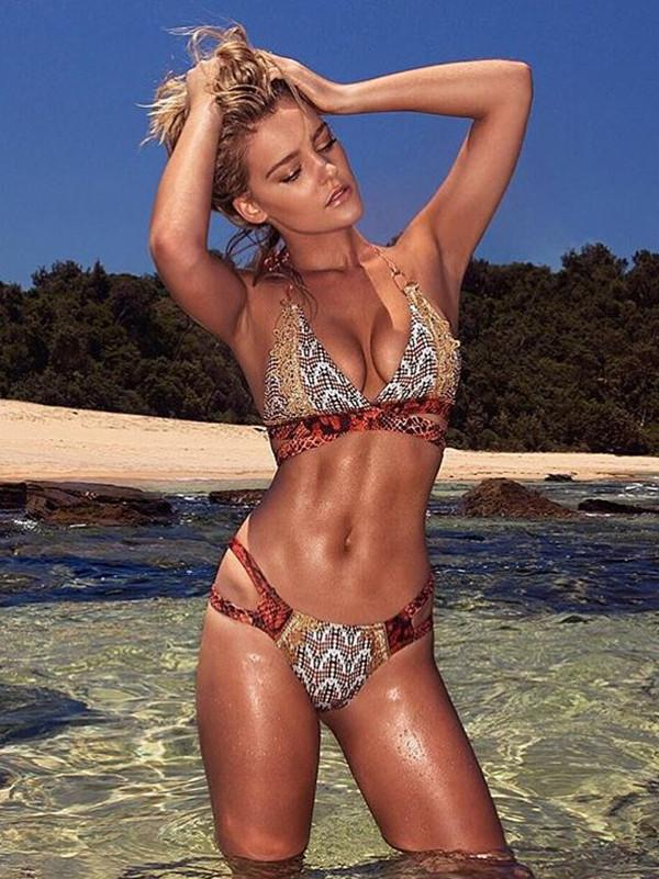 Sexy Snake Skin Pattern Halter Neck Lace-Up Two-Piece Beach Bikini