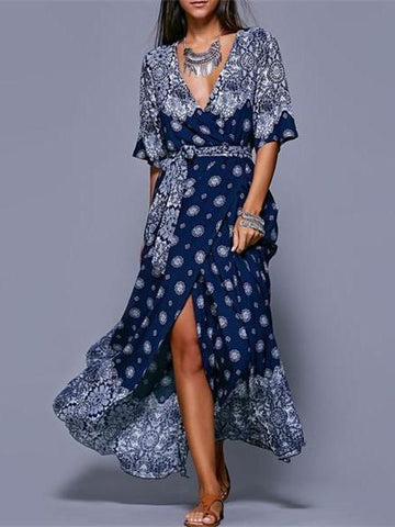 Bohemia Floral Split-side With Raised Bands Short Sleeve V-neck Maxi Dress