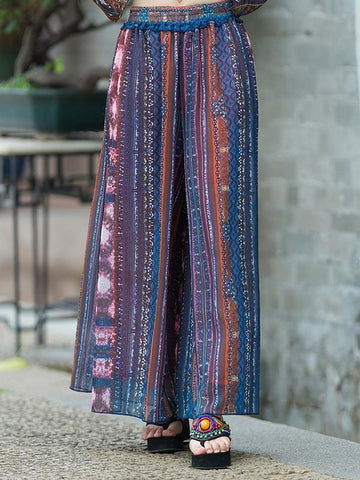 Vintage Printed Big Hem Wide Leg Bottom Casual Pants