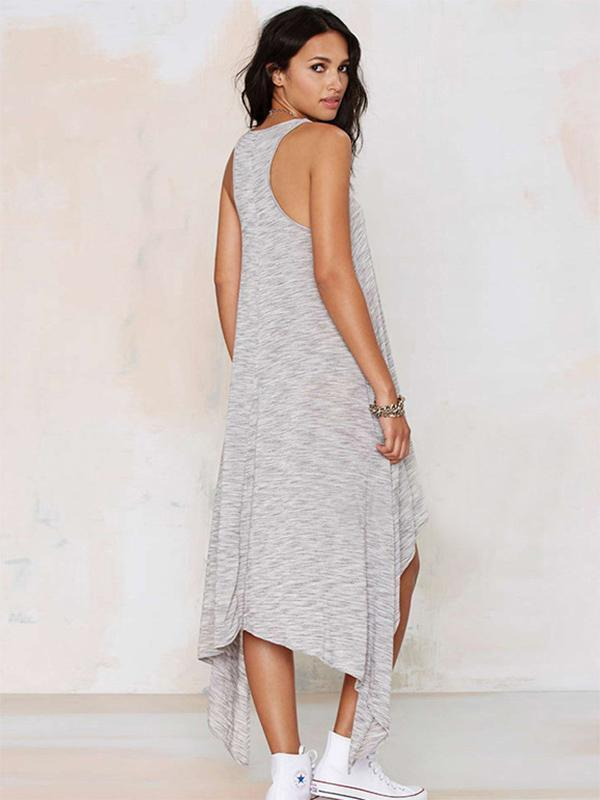 Simple Gray Straps Cropped Midi Dress