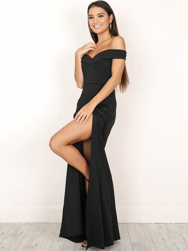 Solid Color Off-the-shoulder Split-side Maxi Dress