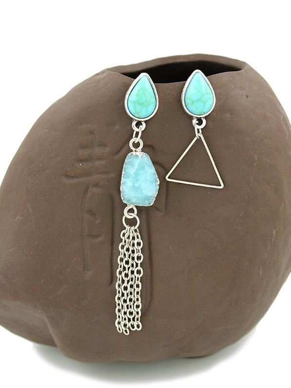 Water-Drop&Tassel Pattern Turquoise Earrings Accessories