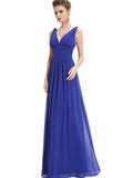 Pretty Deep V-Neck Sleeveless A Line Evening Dress