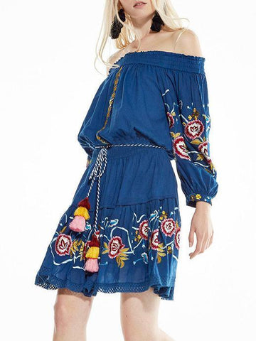 Embroidered Of-the-shoulder Bohemia Mini Dress